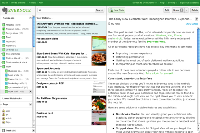 Screenshot Evernote